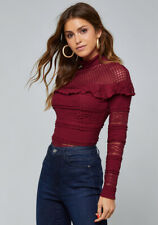 Bebe Blouse Top Mixed Lace Mesh Pointelle Long Sleeve Mock Neck Burgundy red NWT