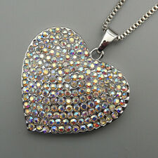 AB Crystal Rhinestone Heart Pendant Betsey Johnson Sweater Necklace