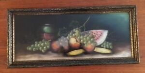 Antique Pastel Fruit Still Life Framed Chalk Painting 20th C Art Nouveau Signed