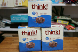 Lot of 70- 10ct boxes Think! Think High Protein Bars Brownie Crunch Exp 1/21