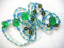 Blue Crystal/Glass Beaded Strand Retro Style Faceted Green &