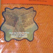 52x70 Oblong Lace Spider Web Fabric Tablecloth~Halloween~Orange~NEW