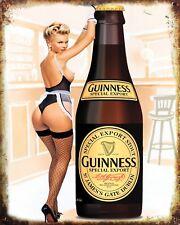 "10"" x 8"" GUINNESS SEXY PIN UP GIRL DUBLIN IRELAND PUB BAR METAL PLAQUE SIGN N342"