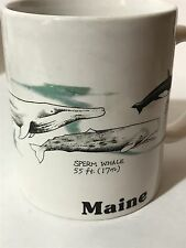 Whales of Maine Illustrated Coffee Tea Cup Mug Blue Humpback Orca