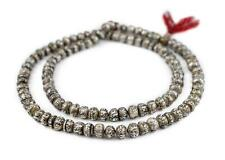 Carved Mother-of-Pearl Prayer Beads 12mm Nepal Silver Round Shell 35 Inch Strand
