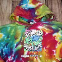 Vintage Tie Dye Hoodie Spell Out Festival Hipster Hoody Hooded Rainbow