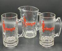 Vintage Libbey Slim Jim Advertisement Beer Pitcher~Set of 2 Mugs Huge MUGS!