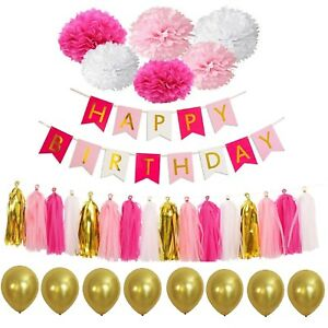 Happy Birthday Bandierine Banner Nappa Carta Pon Balloon Festa Decorazione Kit