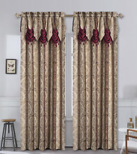 Kate Aurora Red, Burgundy & Taupe Damask Window Curtain & Attached Valance