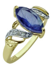 Adorable Blue Sapphire Gf Marquise Shape Gemstone 10k White Gold Wedding Ring