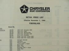 Vintage 1966 Chrysler Boat Corporation Retail Price List Fiberglass Boats #9747