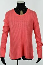 BANANA REPUBLIC Pink Angora Blend Cabel Knit Crew Neck Light Weight Sweater Sz L
