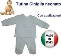 Tutina ciniglia neonato produzione italiana certificata misura a scelta