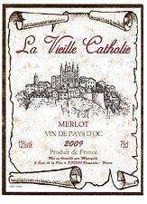 Etiquette de vin - Wine Label - Vin de Pays d'Oc - MERLOT - La Vieille Cathalie