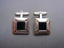 VINTAGE STERLING SILVER SQUARE ONYX CUFF LINK #GT356
