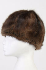 Vintage Genuine Beanie Fur Hat UK Real Siberia Warm 90s Winter Coffee S - HAT160