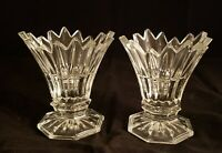 "Set/2 Crystal Footed Sawtooth Flaired Edge Candlestick Holders 4.75"" Excellent"