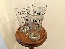 3 Tall Latte Glasses Tea /Coffee /Cappuccino / Chocolate. Black writing on mugs.
