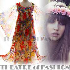 Vestido De Colección De La India 70s Quad 60s 6 8 10 12 14 Boho Hippy gasa Boda S M L