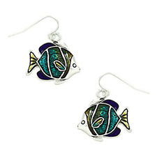 Tropical Fish Fashionable Earrings - Epoxy - Fish Hook - Silver Plated