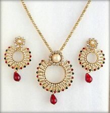 Ethnic Indian Jewelry Red Green Pearls Gold Plated Pendant Necklace Earrings Set