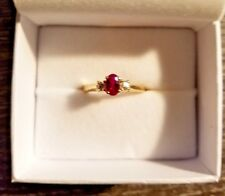 Ladies Ring Lead Glass Filled Ruby w/2 Diamonds 14K Gold Band Size 5