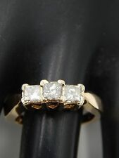 Large 3-Stone Princess Diamond Engagement Ring 14k YG .99 tcw J/SI2 Designer
