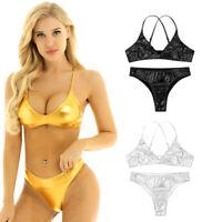 Women Metallic Soft Bra Bikini Set Swimsuit Swimwear Bathing Strappy Top Briefs