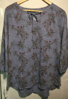 St Johns Bay Womens Tie Front 3/4 Sleeve Blouse Top Floral Size Large