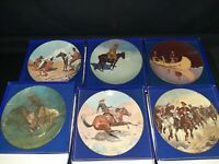 LOT OF 6) VINTAGE FREDERIC REMINGTON INDIAN HORSE WESTERN COLLECTOR PLATES