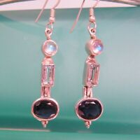 "1 1/2"" Moonstone Amethyst Gemstone 925 Sterling Silver Handmade Dangle Earring"