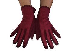 Gants femme fourrés-touché daim-rouge sombre- extensible- T.U (convient à S.M.L)