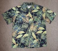 Mens Joe Marlin Hawaiian Shirt Medium M Palm Leaves Aloha Tropical Short Sleeve