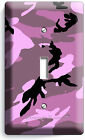 PINK RED CAMO CAMOUFLAGE SINGLE LIGHT SWITCH WALL PLATE GIRLS TV ROOM DECORATION