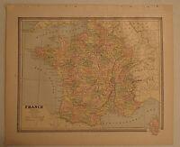 Vintage 1885 FRANCE MAP Old Antique Original Atlas Map 123018