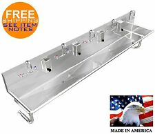Industrial Multistation 5 Person Hand Sink 120 Manual Faucet 2 2 Npt Drains