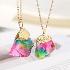 Seven colour natural stone transparent candy colour rainbow Necklace Pendant uk