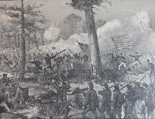CIVIL WAR BATTLE OF BENTONVILLE NORTH CAROLINA GEN MOWER ANTIQUE ENGRAVING 1890