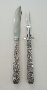 Kirk REPOUSSE Sterling Silver Large Roast Carving Set