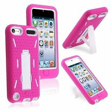 iPod Touch 5 6 Gen - HARD & SOFT RUBBER HYBRID CASE COVER PINK WHITE KICK STAND