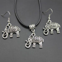 3PC Jewelry Set Tibet Silver Elephant Pendant Necklace Earring Hook Jewelry Gift
