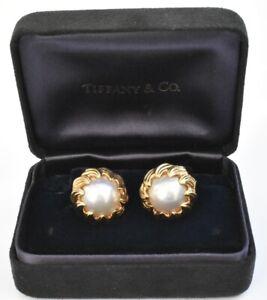 Tiffany & Co Mabe Pearl Earrings 18K