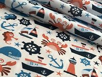 NAUTICAL BOAT SAILOR PRINT POLYCOTTON FABRIC 112cm WIDE PER METRE