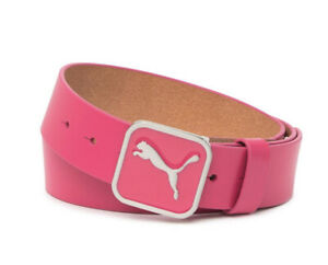 NEW Puma Square Fitted Belt Hot Pink Genuine Leather Golf US Small $50