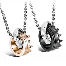 MENDINO 2pcs Mens Womens Stainless Steel Pendant Necklace CZ Couples Crown Chain