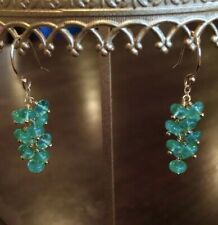 Emerald Earrings 14k Yellow Gold Cabochon Drops