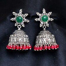Oxidized Silver Tone Jhumka Earrings Traditional Vintage Ethnic Indian Jewelry