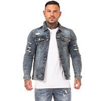 GINGTTO Men Denim Trucker Jackets Ripped Vintage Blue Casual Slim Fit Jean Coat