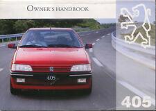 Peugeot 405 Saloon and Estate original Owner's Handbook 1995