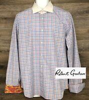 Robert Graham Men's Plaid Long Sleeve Button Shirt French Flip Cuffs L 16.5 42